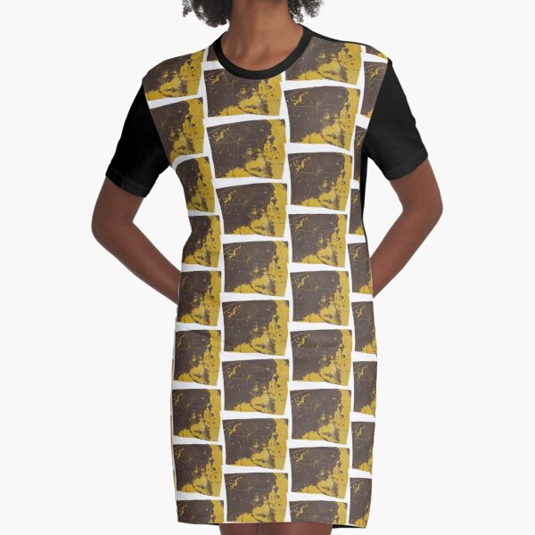 Print Work Yellow   Graphic T-Shirt Dress