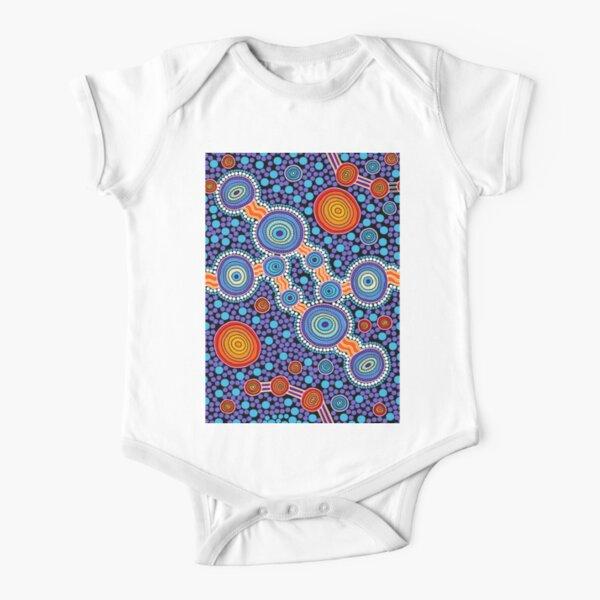 Authentic Aboriginal Art - The Journey Blue Short Sleeve Baby One-Piece
