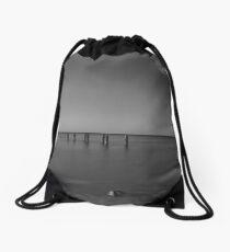 Old Pier in Black & White Drawstring Bag