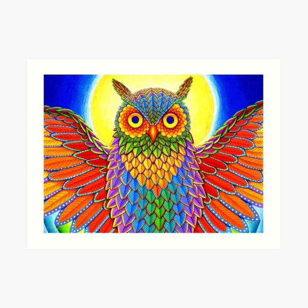 Colorful Psychedelic Rainbow Owl Art Print