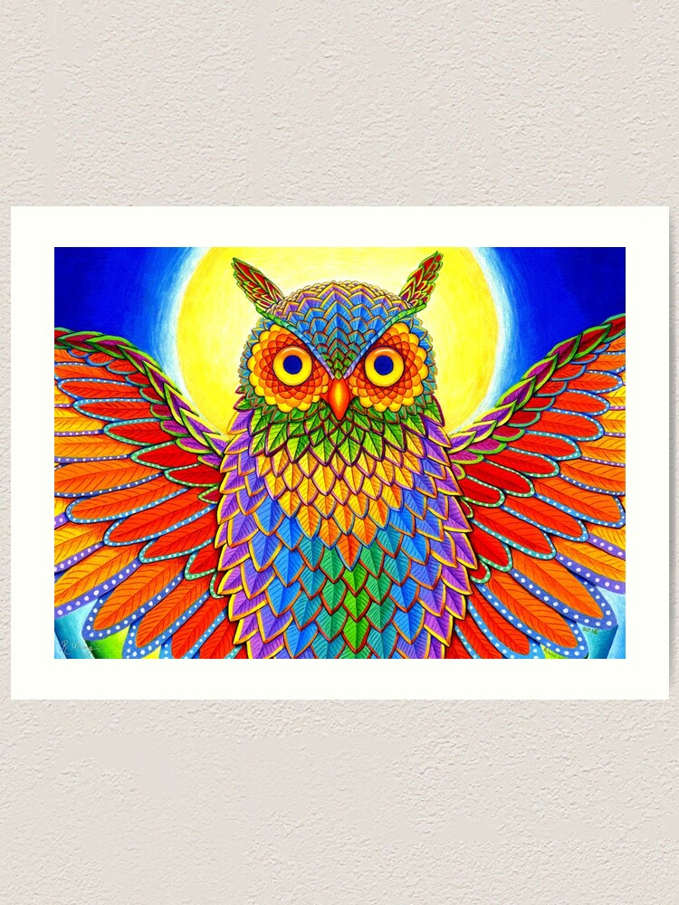 Alternate view of Colorful Psychedelic Rainbow Owl Art Print