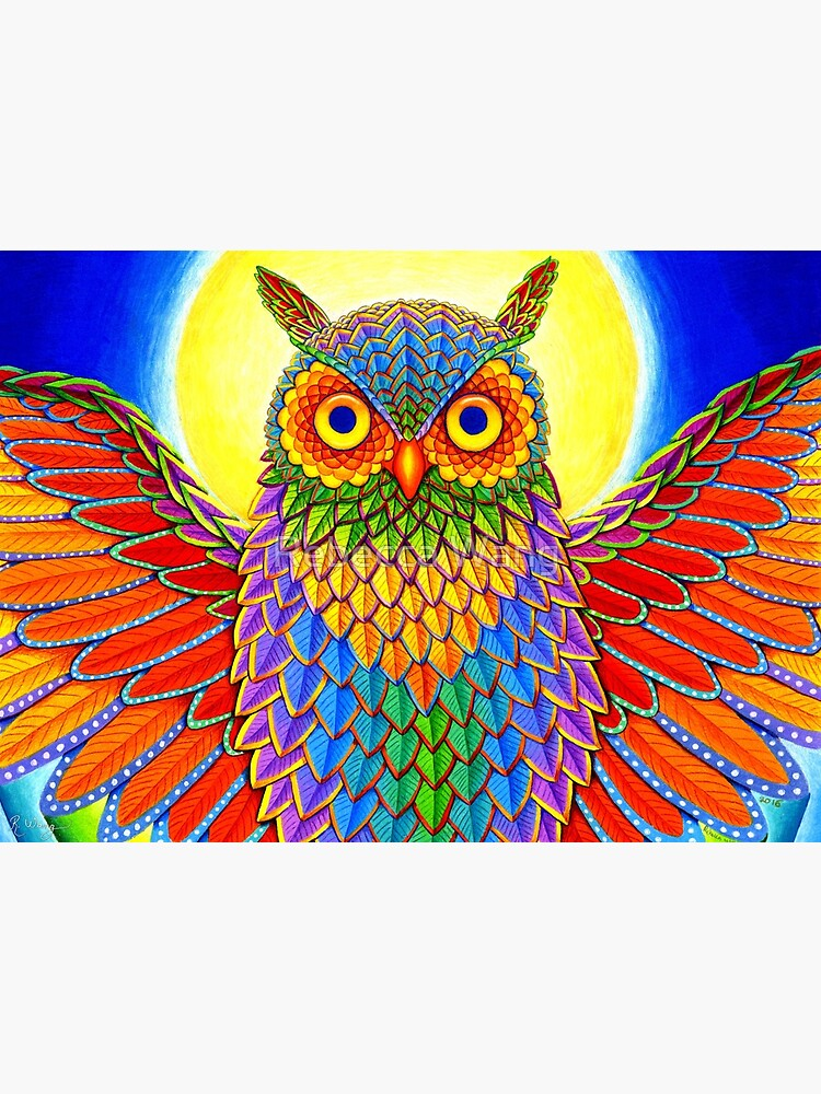 Colorful Psychedelic Rainbow Owl by lioncrusher