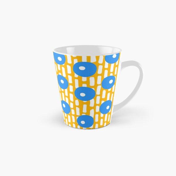 Jumbo Dots and Dashes - Saffron Yellow, Cornflower Blue, White Tall Mug
