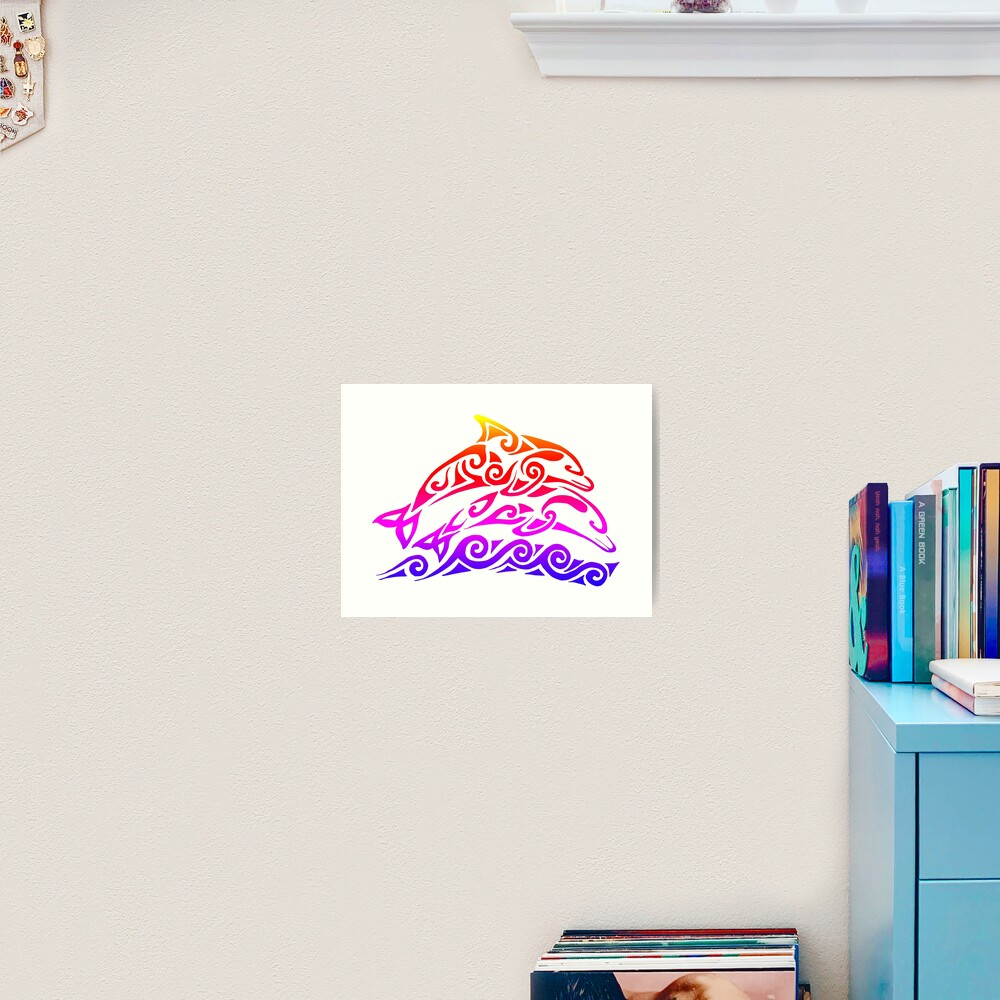 Rainbow Tribal Dolphins Art Print