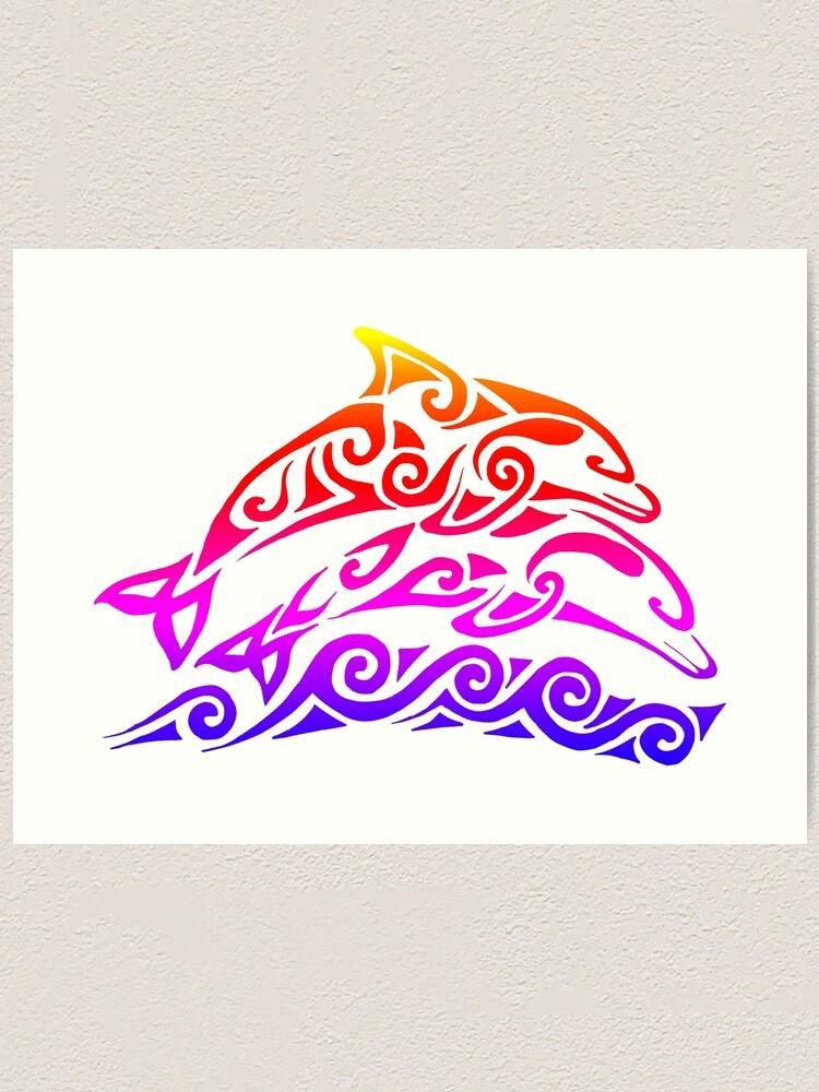 Alternate view of Rainbow Tribal Dolphins Art Print