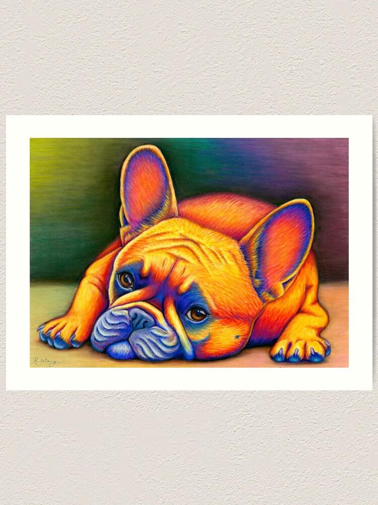 Alternate view of Daydreamer - Colorful French Bulldog Art Print