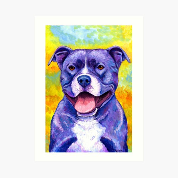 Peppy Purple Pitbull Terrier Dog Art Print