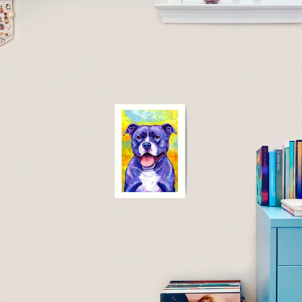 Peppy Purple Pitbull Terrier Dog Art Print
