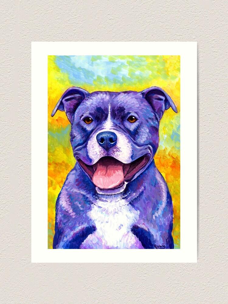 Alternate view of Peppy Purple Pitbull Terrier Dog Art Print