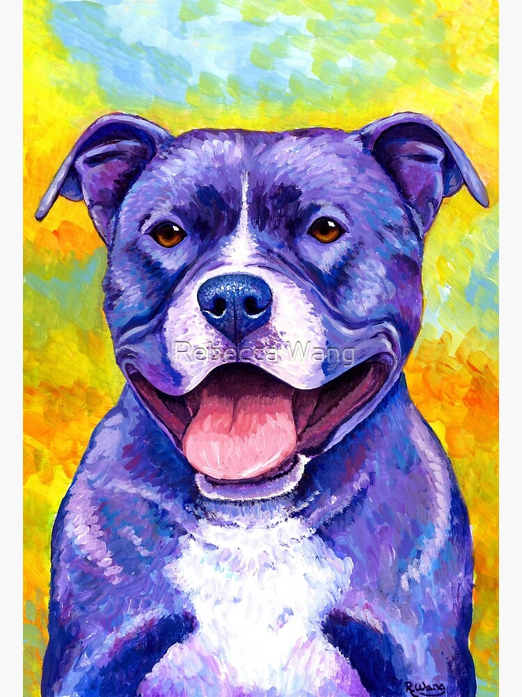 Peppy Purple Pitbull Terrier Dog by lioncrusher