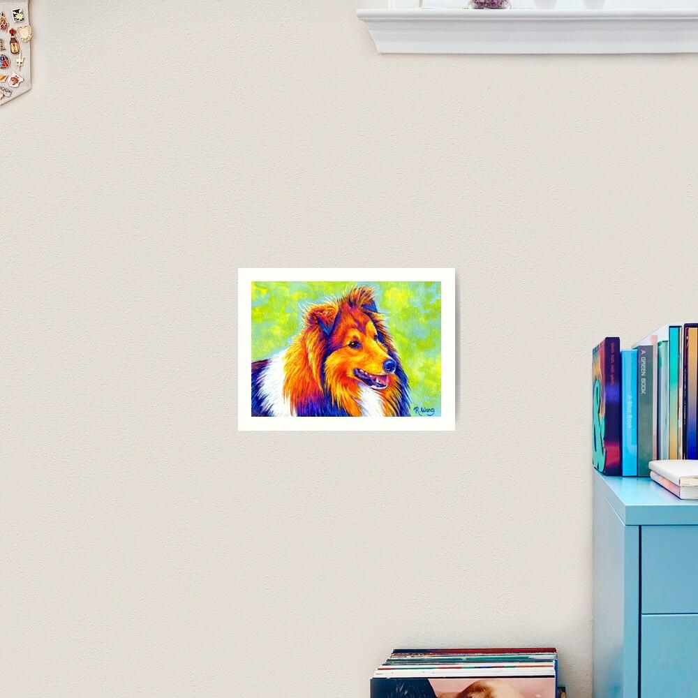 Colorful Shetland Sheepdog Rainbow Sheltie Dog Art Print