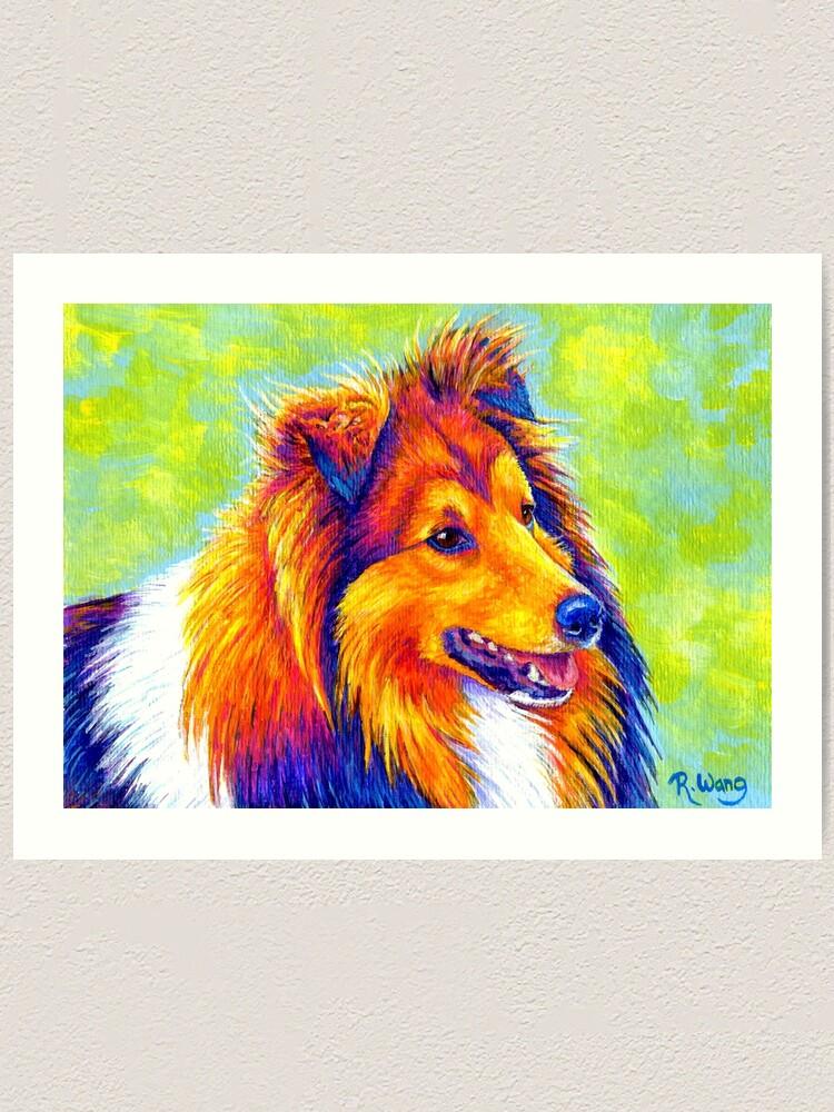 Alternate view of Colorful Shetland Sheepdog Rainbow Sheltie Dog Art Print