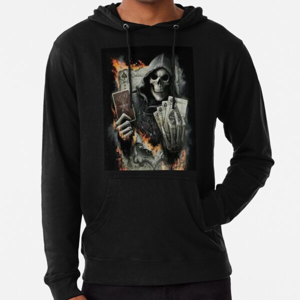 skull with letters- fire Lightweight Hoodie