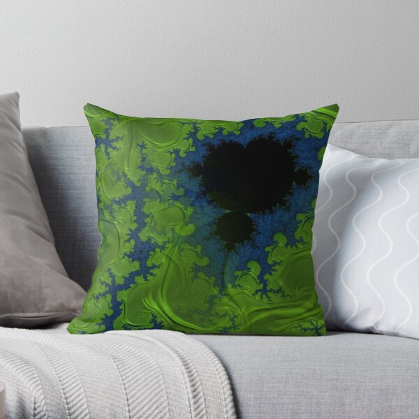 Blue Green Algae Mandelbrot Fractal Abstract Throw Pillow