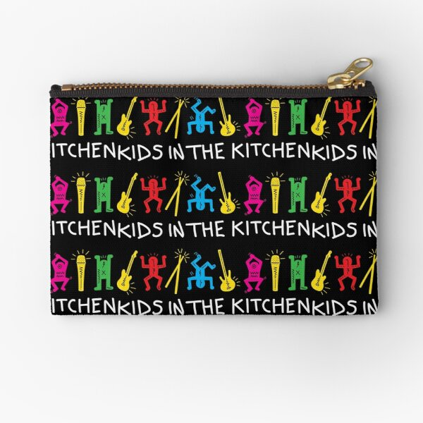 Kids In The Kitchen - Black Pop Art Zipper Pouch