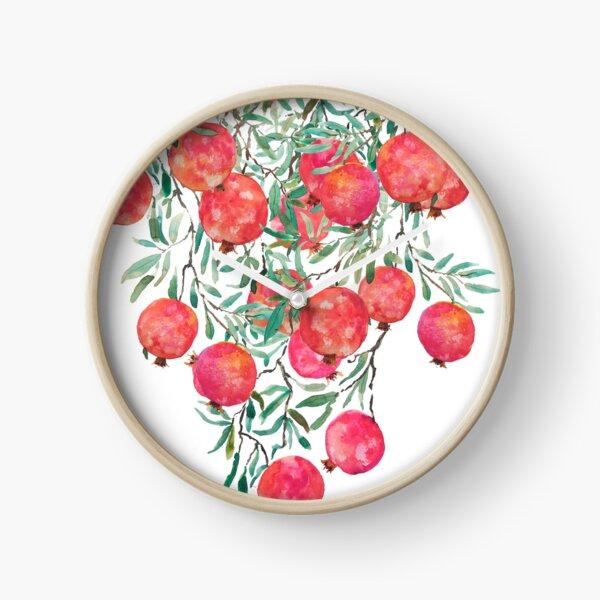 red pomegranate watercolor 2020 Clock