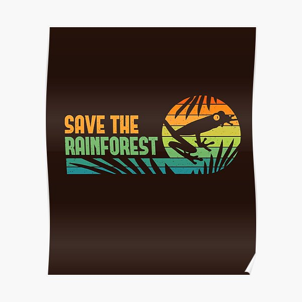 Save the Rainforest - Retro Tree Frog Poster