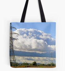 Pylons in the countryside Tote Bag