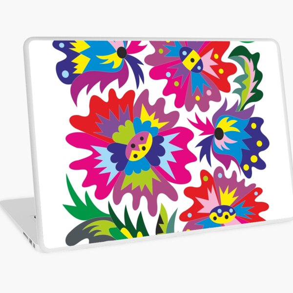 Mallow and bellflowers. Abstraction. Laptop Skin