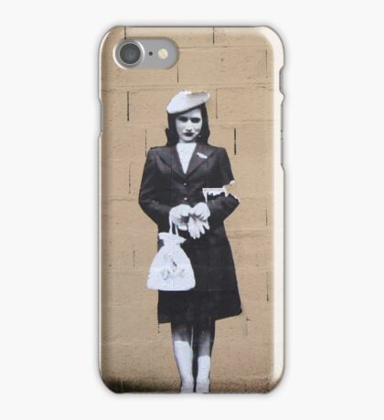 chic shopping gal with beret in paris iPhone Case/Skin