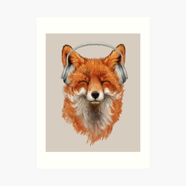 Smiling Musical Fox Art Print