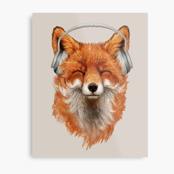 Smiling Musical Fox Metal Print