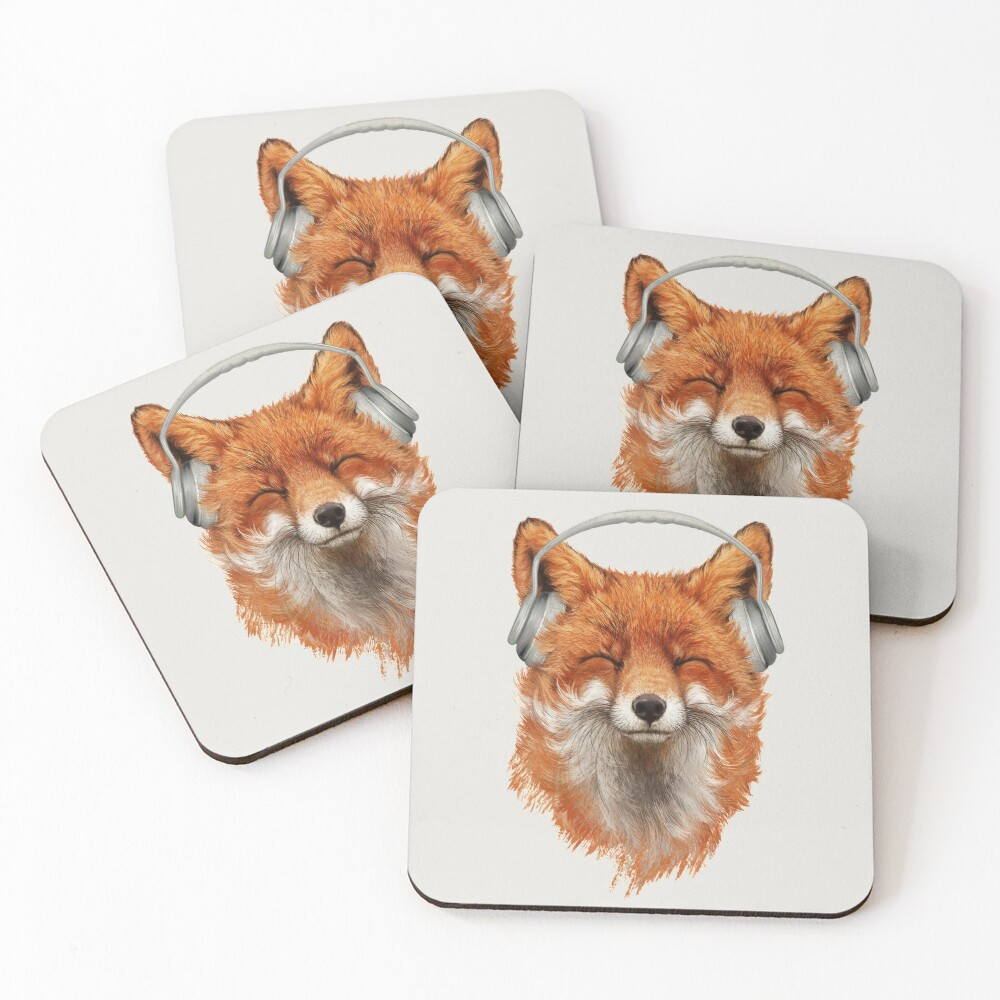 Smiling Musical Fox Coasters (Set of 4)