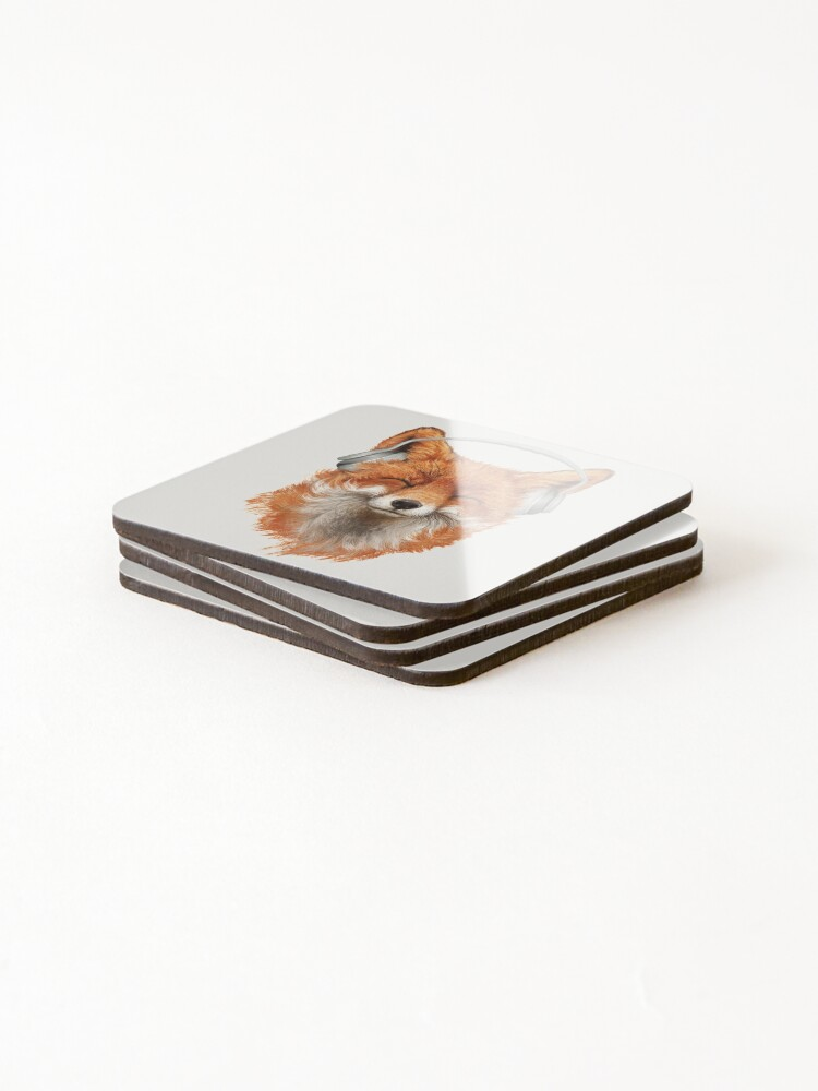 Alternate view of Smiling Musical Fox Coasters (Set of 4)