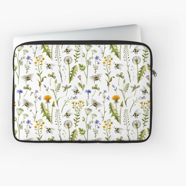 Bees and wildflowers on white Laptop Sleeve