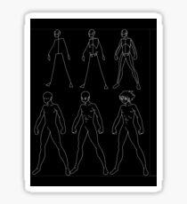 A manga male body evolution (white) Sticker