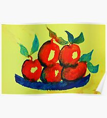 Plate of Apples,watercolor Poster
