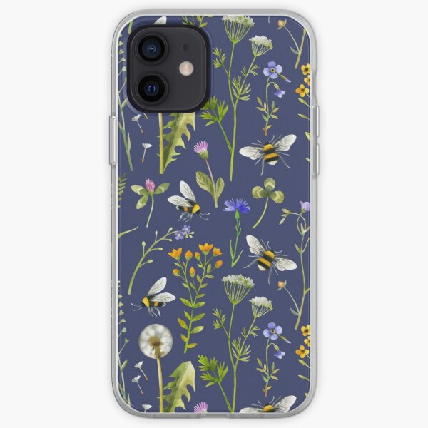 Bees and wildflowers on dark blue iPhone Soft Case