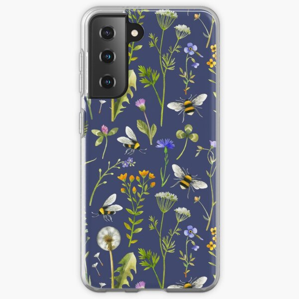 Bees and wildflowers on dark blue Samsung Galaxy Soft Case