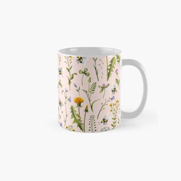 Bees and wildflowers on blush Classic Mug