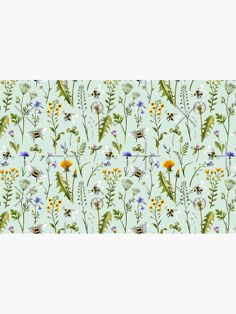 Bees and wildflowers on mint by MirabellePrint