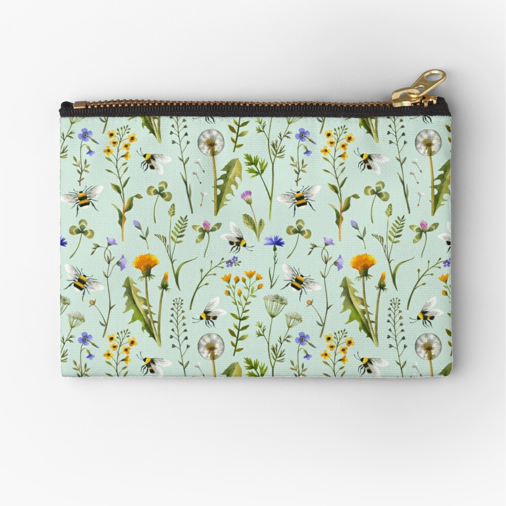 Bees and wildflowers on mint Zipper Pouch