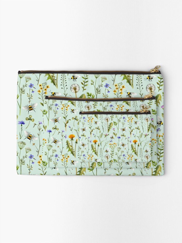 Alternate view of Bees and wildflowers on mint Zipper Pouch