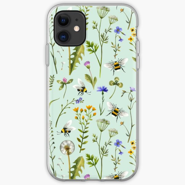 Bees and wildflowers on mint iPhone Soft Case