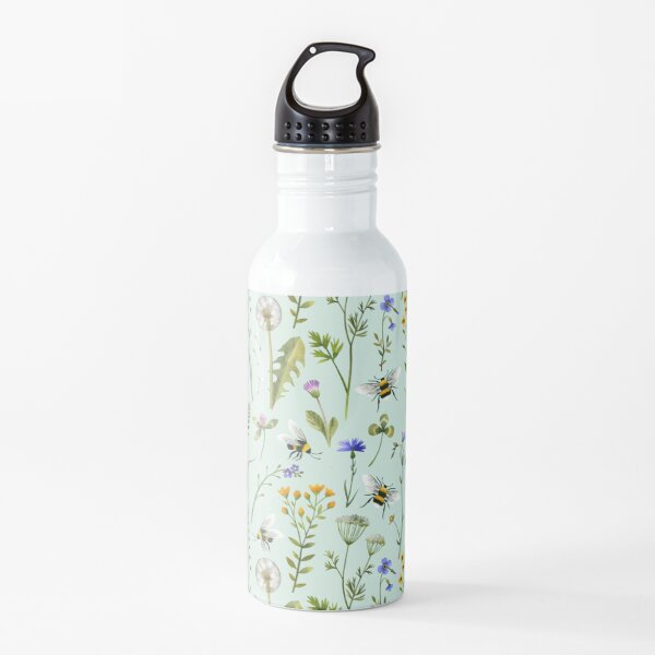 Bees and wildflowers on mint Water Bottle