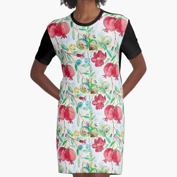 Pomegranates fruits watercolour Graphic T-Shirt Dress