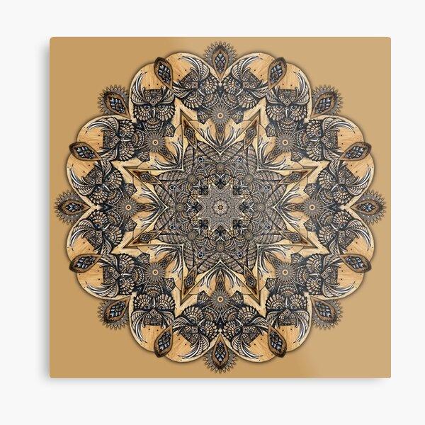 Owl Wood Posca Hand Drawn Mandala Metal Print