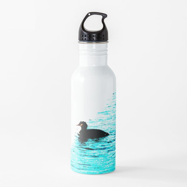 Crested Grebe on blue and white background Water Bottle