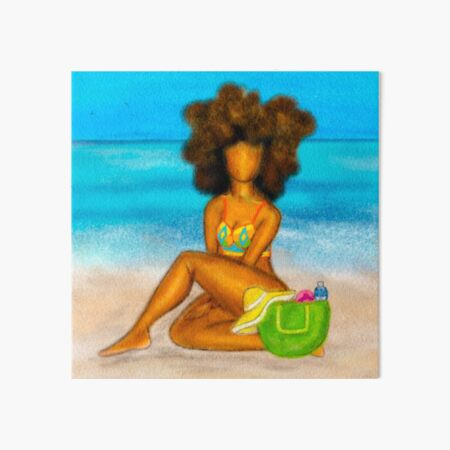 Afro girl on Beach Postcard Art Board Print