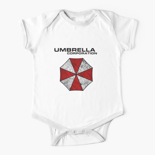 Umbrella Corporation Distressed Logo Short Sleeve Baby One-Piece