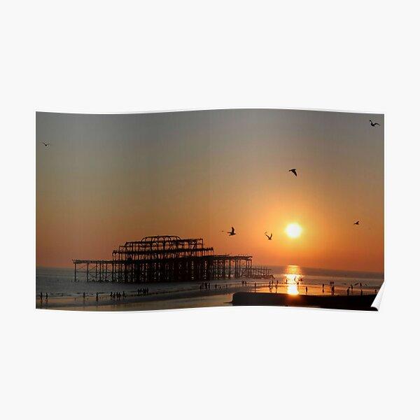 Sunset - West Pier Poster