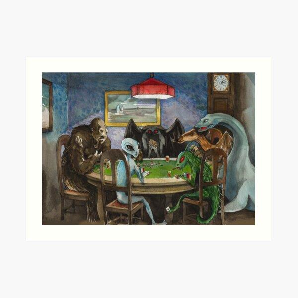 Cryptids playing poker Art Print