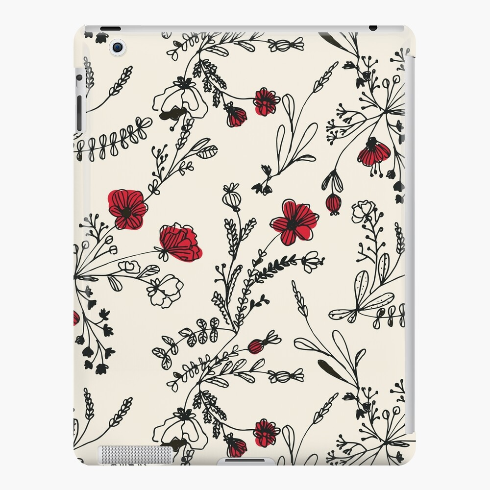 Red Flower Pattern iPad Case & Skin