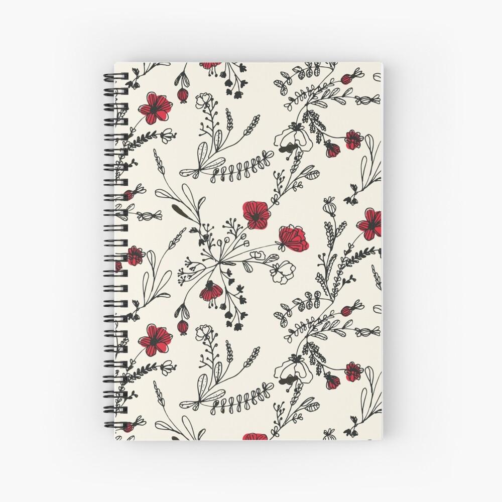 Red Flower Pattern Spiral Notebook
