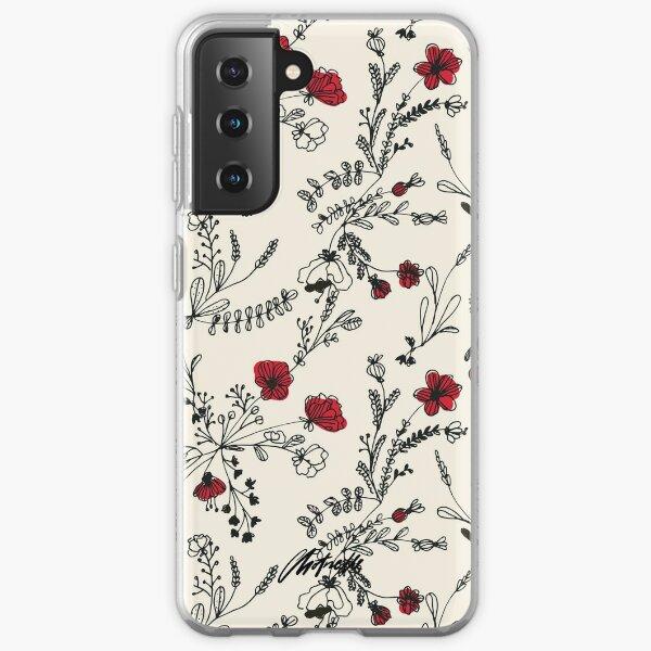 Red Flower Pattern Samsung Galaxy Soft Case
