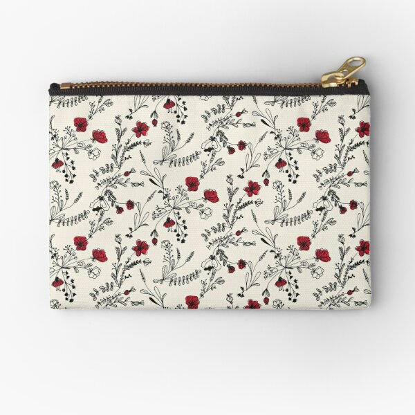 Red Flower Pattern Zipper Pouch